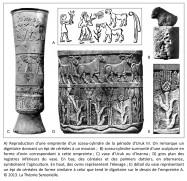 sceau-cylindre, Uruk III, céréales, mouton, ovin, vase d'Uruk, Innana, palmiers dattiers, agriculture, élevage, épi de céréales, dignitaire, empreinte de sceau