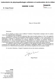 Analogie Serge Picaud Institut de la Vision certificat analogie theorie sensorielle