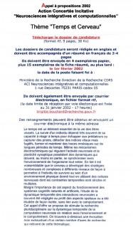 Appel CNRS-2002 temps sciences cognitives neurosciences theorie sensorielle