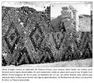 analogie, image numérique, cônes d'argile, ornementation, bâtiment, Eanna d'Uruk, Uruk, Mésopotamie, couleur, motifs, mur d'argile, cuits, peints, enduit, figures géométriques