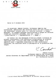 Philippe Roi, chercheur en neurosciences, certificat, Edmond Couchot, Mésopotamie, système visuel, unversité Paris 8, théorie sensorielle