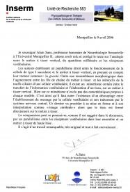 Philippe Roi chercheur en neurosciences, Alain Sans, analogie, métier à tisser, système vestibulaire, analogie, theorie sensorielle
